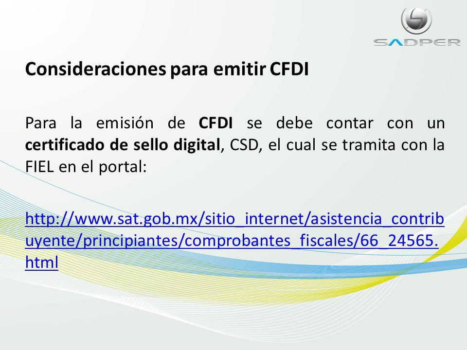 Consideraciones para emitir CFDI