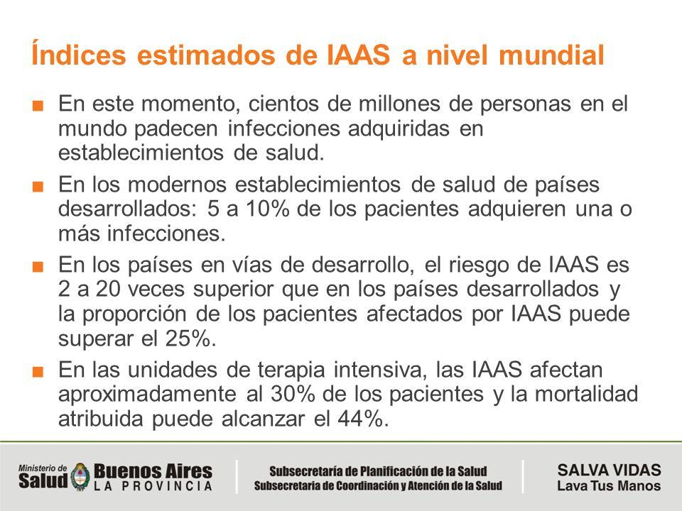Índices estimados de IAAS a nivel mundial