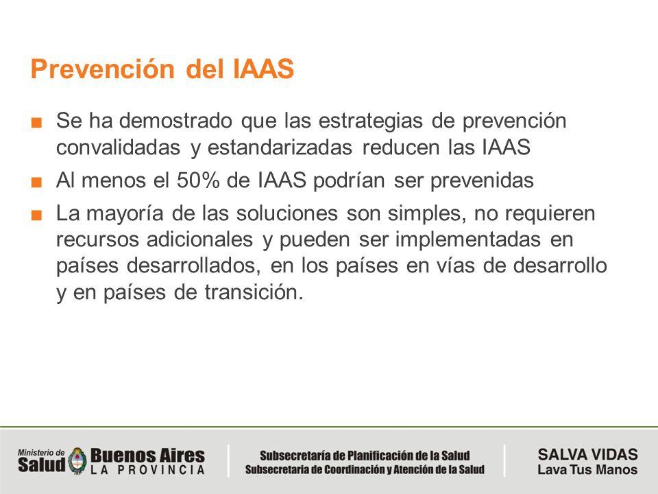 Prevención del IAAS Se ha demostrado que las estrategias de prevención convalidadas y estandarizadas reducen las IAAS.