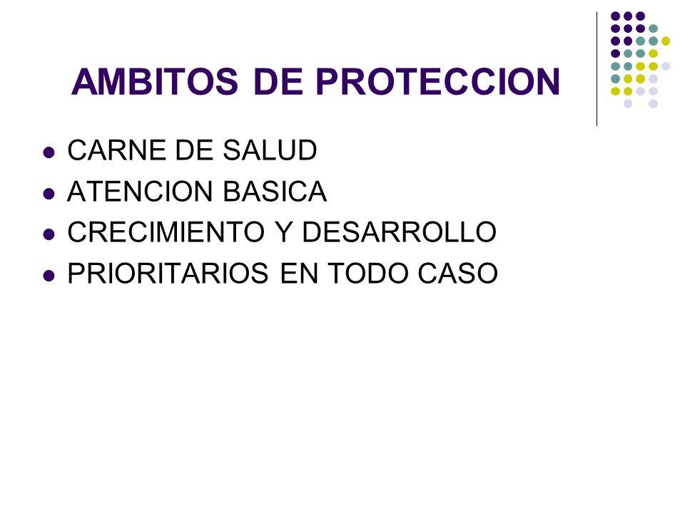 AMBITOS DE PROTECCION CARNE DE SALUD ATENCION BASICA