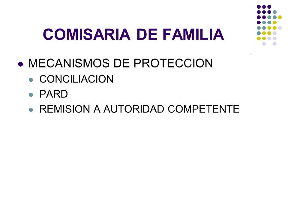 COMISARIA DE FAMILIA MECANISMOS DE PROTECCION CONCILIACION PARD