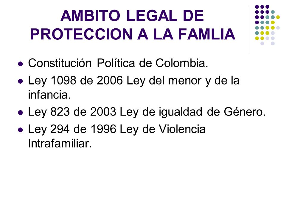 AMBITO LEGAL DE PROTECCION A LA FAMLIA