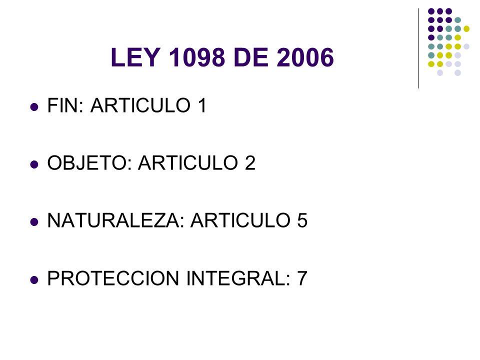 LEY 1098 DE 2006 FIN: ARTICULO 1 OBJETO: ARTICULO 2