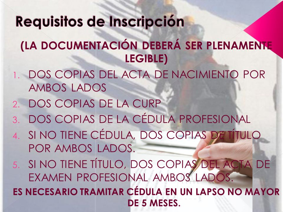 Requisitos de Inscripción