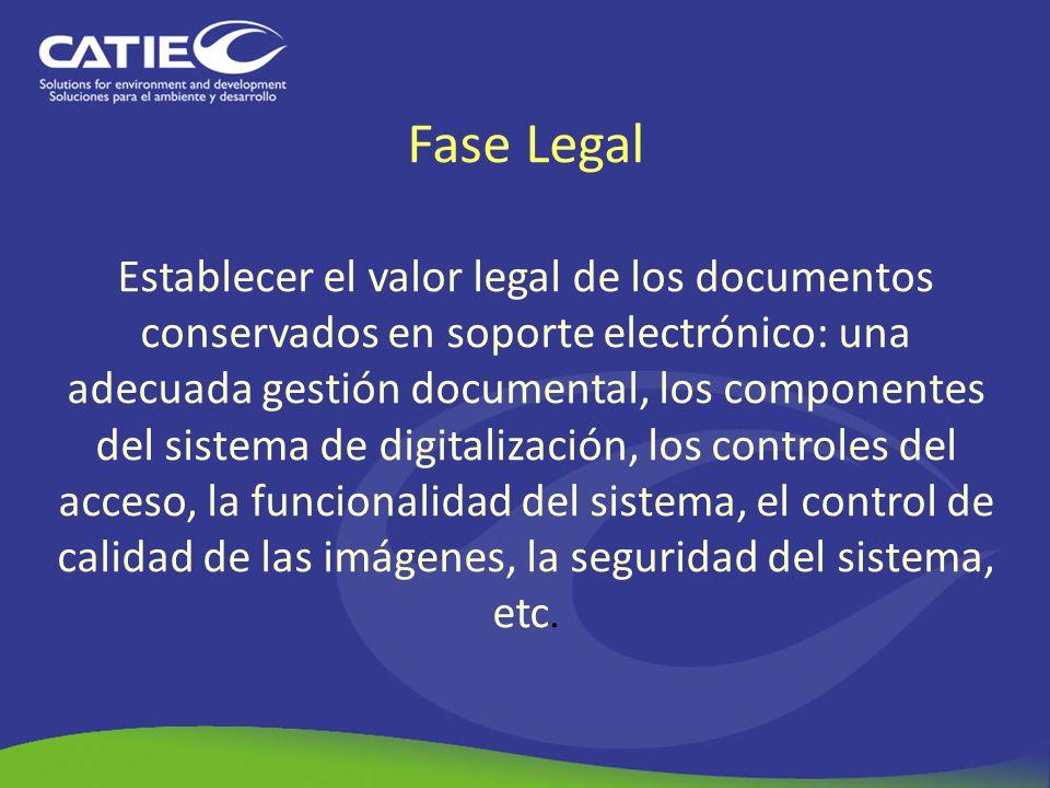 Fase Legal Establecer el valor legal de los documentos conservados en soporte electrónico: una adecuada gestión documental, los componentes del sistema de digitalización, los controles del acceso, la funcionalidad del sistema, el control de calidad de las imágenes, la seguridad del sistema, etc.
