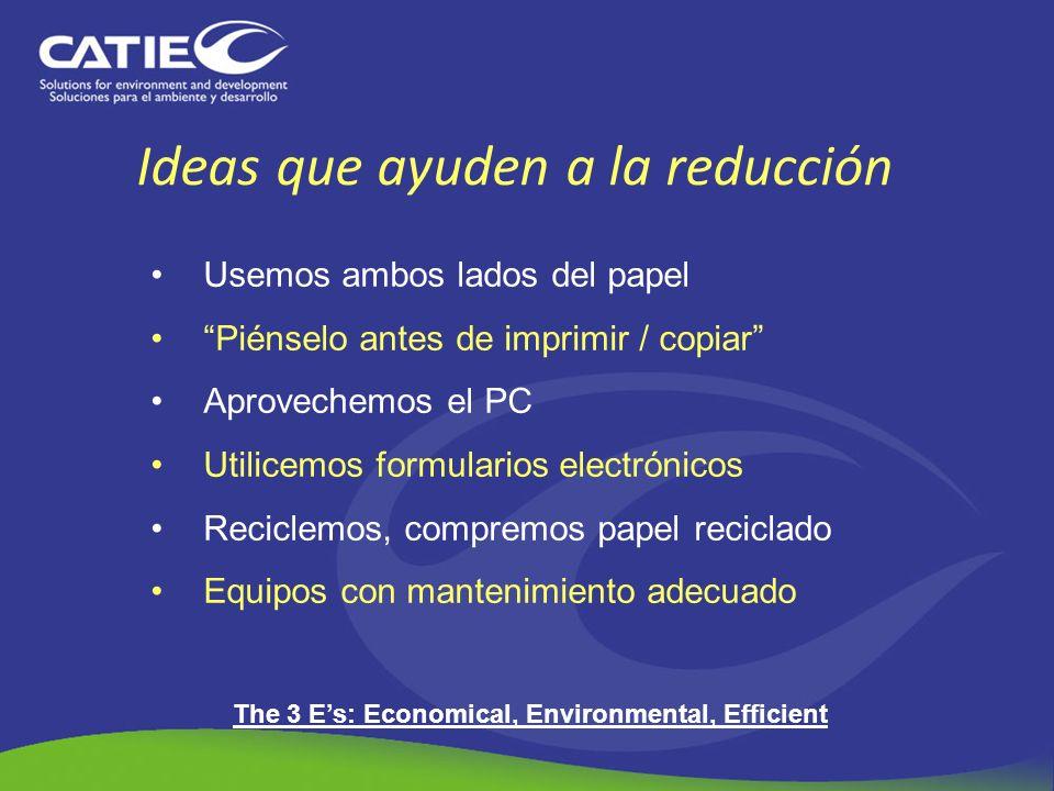 Ideas que ayuden a la reducción