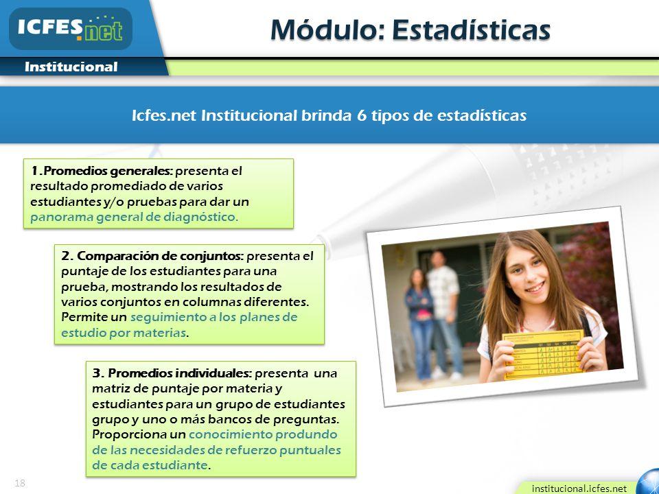 Icfes.net Institucional brinda 6 tipos de estadísticas