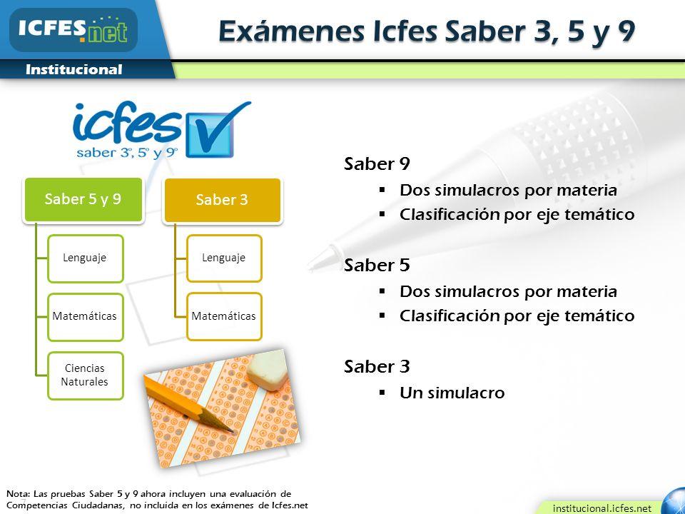 Exámenes Icfes Saber 3, 5 y 9 Saber 9 Saber 5 Saber 3 Saber 3
