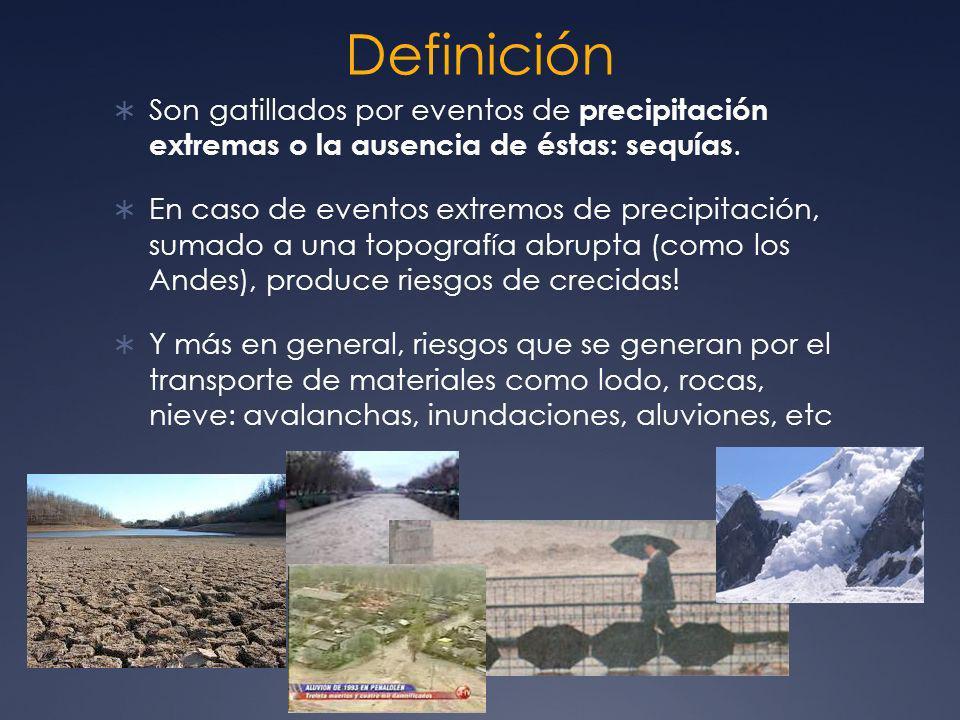 Definición Son gatillados por eventos de precipitación extremas o la ausencia de éstas: sequías.
