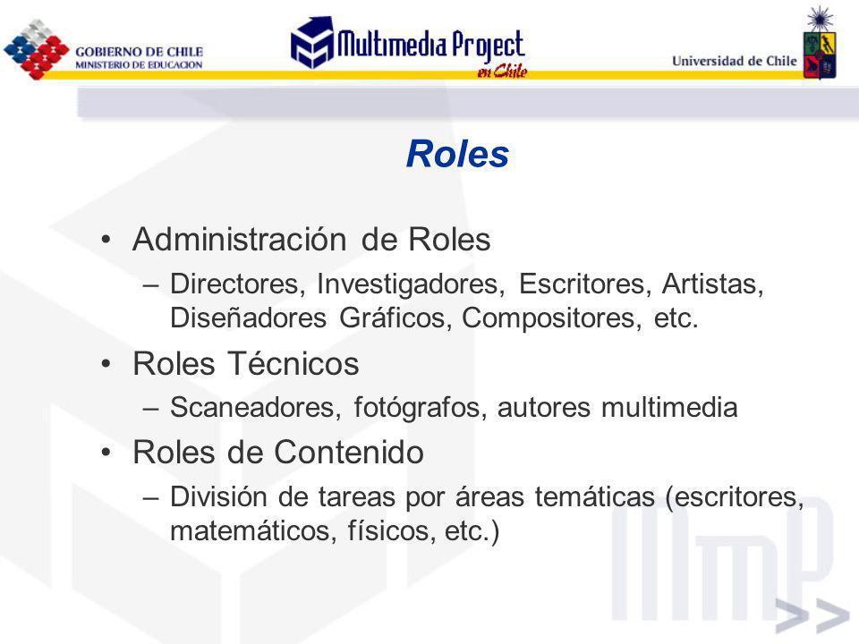 Roles Administración de Roles Roles Técnicos Roles de Contenido