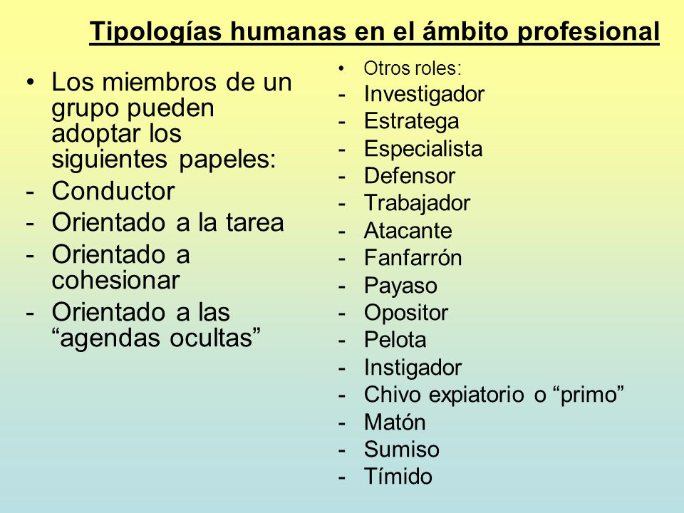 Tipologías humanas en el ámbito profesional