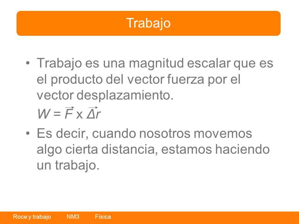 Trabajo Trabajo es una magnitud escalar que es el producto del vector fuerza por el vector desplazamiento.