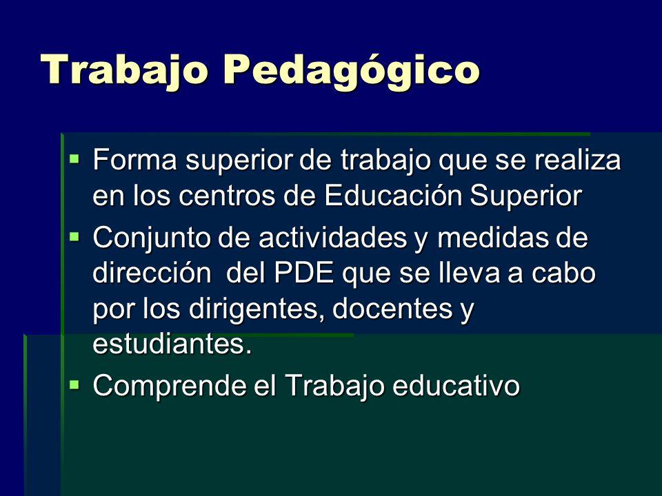 Trabajo Pedagógico Forma superior de trabajo que se realiza en los centros de Educación Superior.