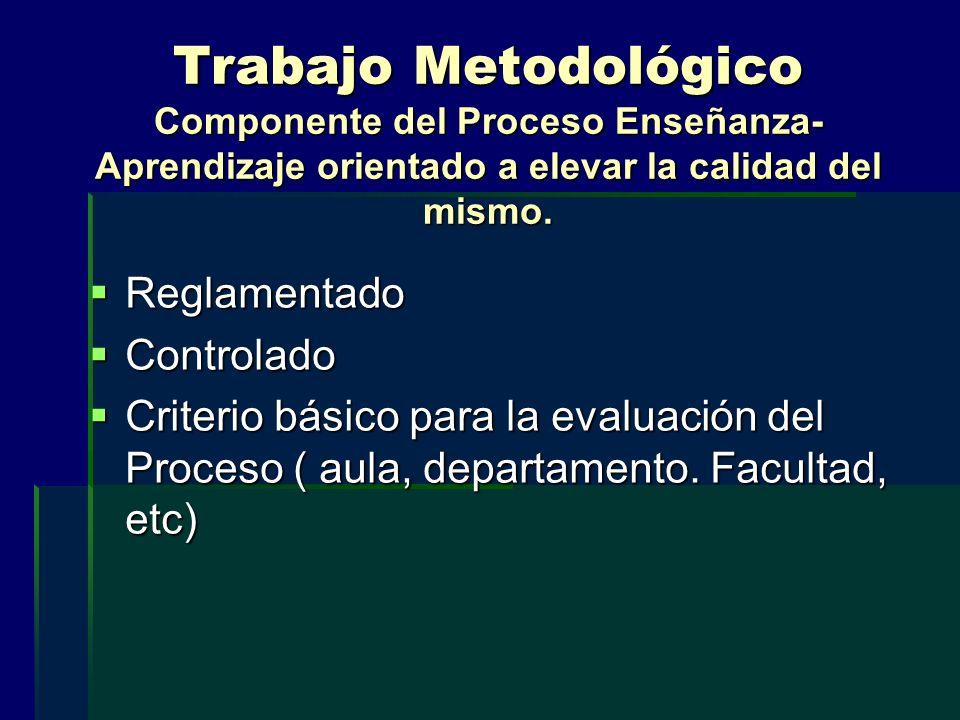 Trabajo Metodológico Componente del Proceso Enseñanza- Aprendizaje orientado a elevar la calidad del mismo.