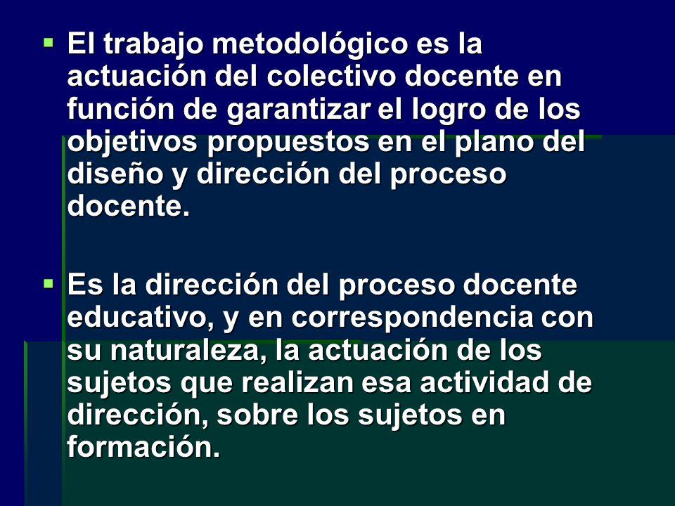 El trabajo metodológico es la actuación del colectivo docente en función de garantizar el logro de los objetivos propuestos en el plano del diseño y dirección del proceso docente.