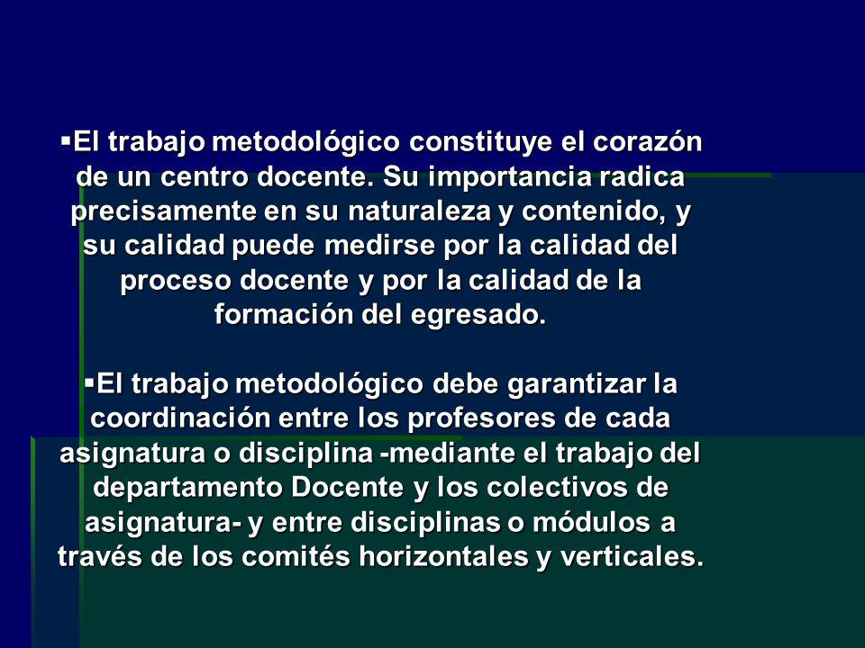 El trabajo metodológico constituye el corazón de un centro docente