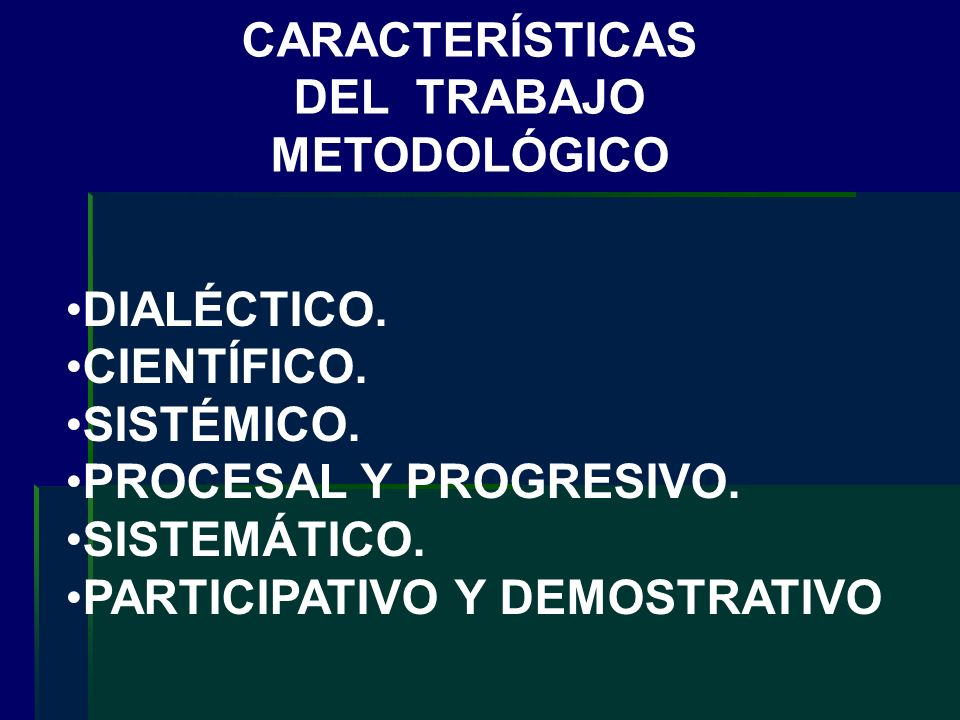 CARACTERÍSTICAS DEL TRABAJO METODOLÓGICO