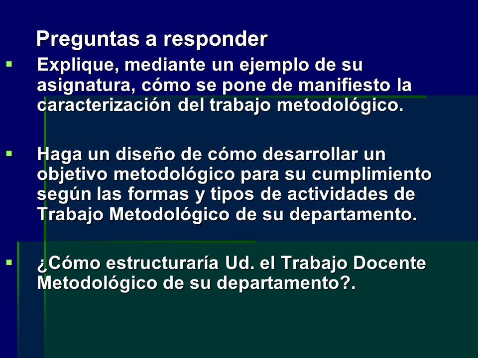 Preguntas a responder Explique, mediante un ejemplo de su asignatura, cómo se pone de manifiesto la caracterización del trabajo metodológico.
