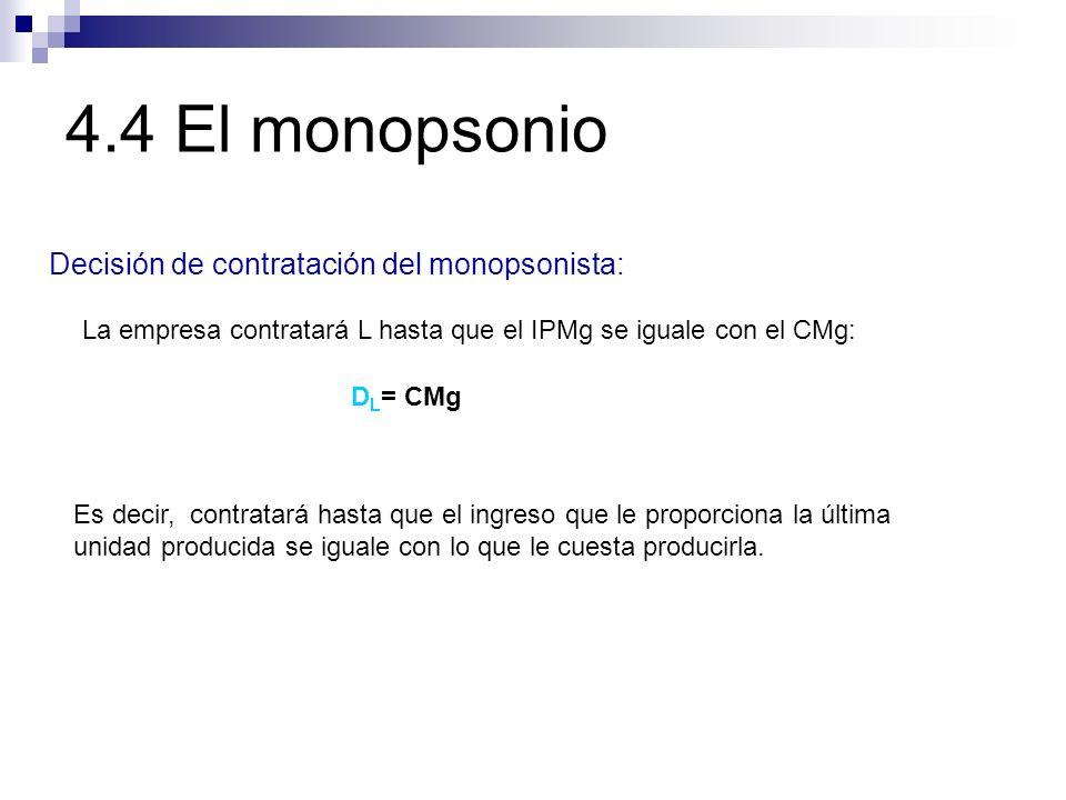 4.4 El monopsonio Decisión de contratación del monopsonista:
