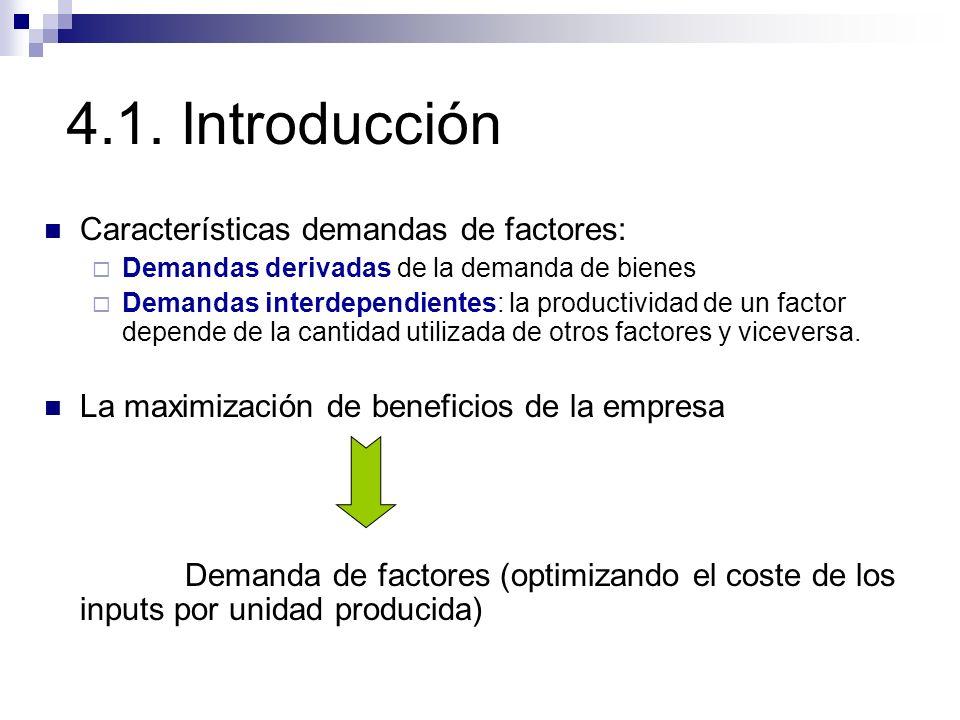 4.1. Introducción Características demandas de factores: