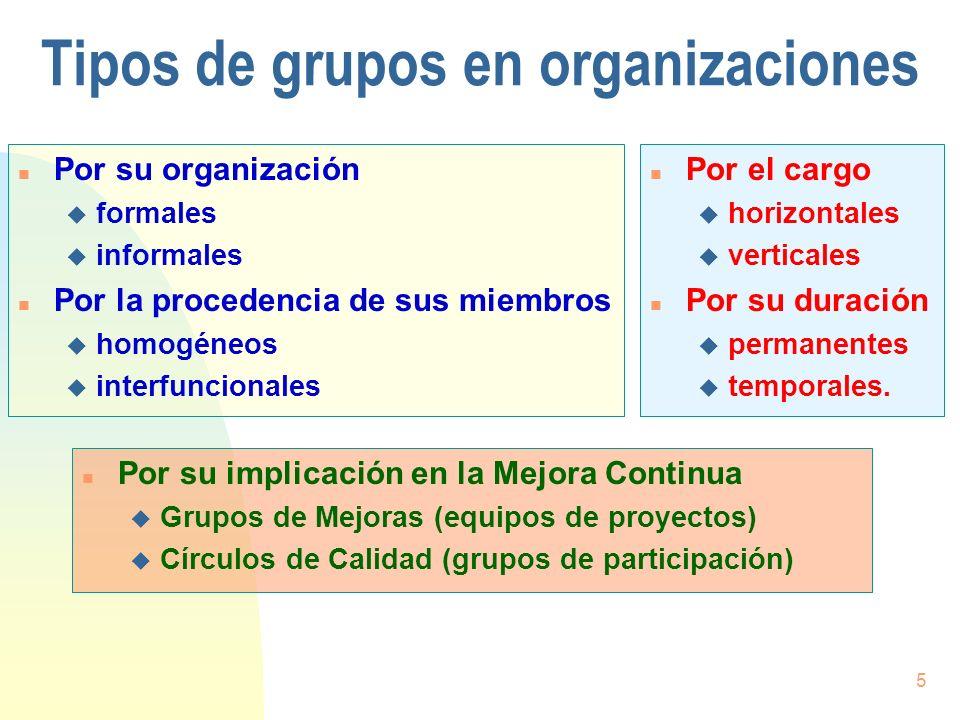 Tipos de grupos en organizaciones