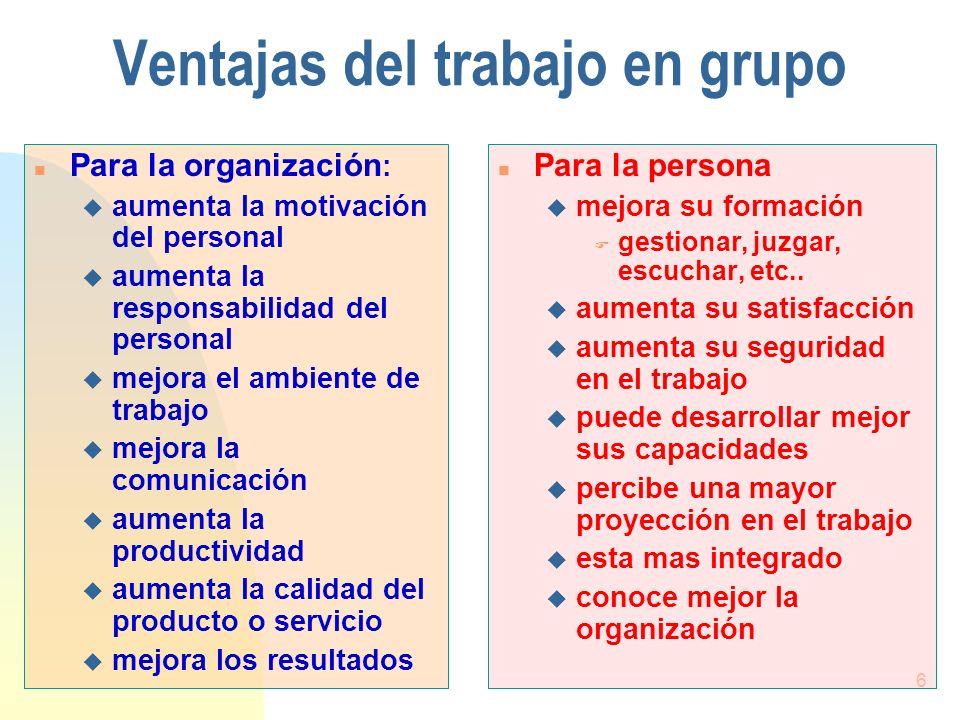 Ventajas del trabajo en grupo