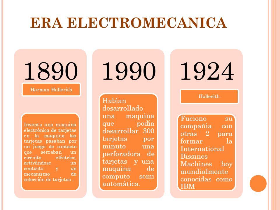 ERA ELECTROMECANICA 1890. Herman Hollerith.