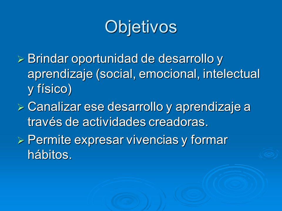 Objetivos Brindar oportunidad de desarrollo y aprendizaje (social, emocional, intelectual y físico)