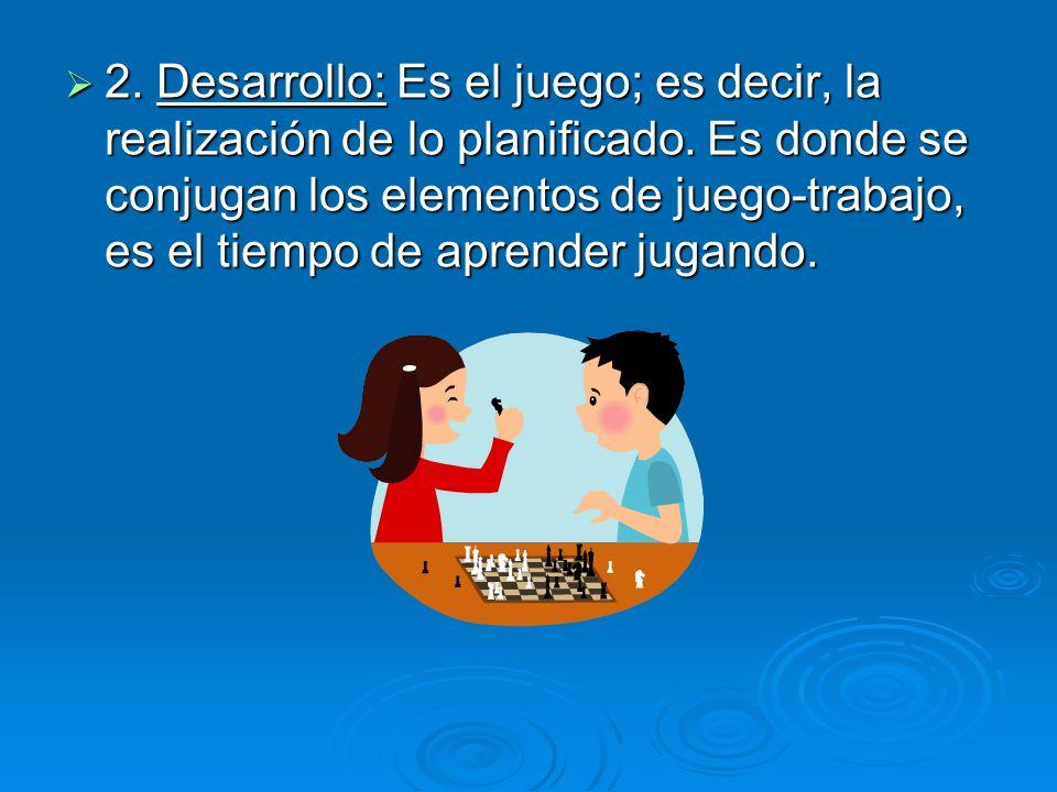 2. Desarrollo: Es el juego; es decir, la realización de lo planificado