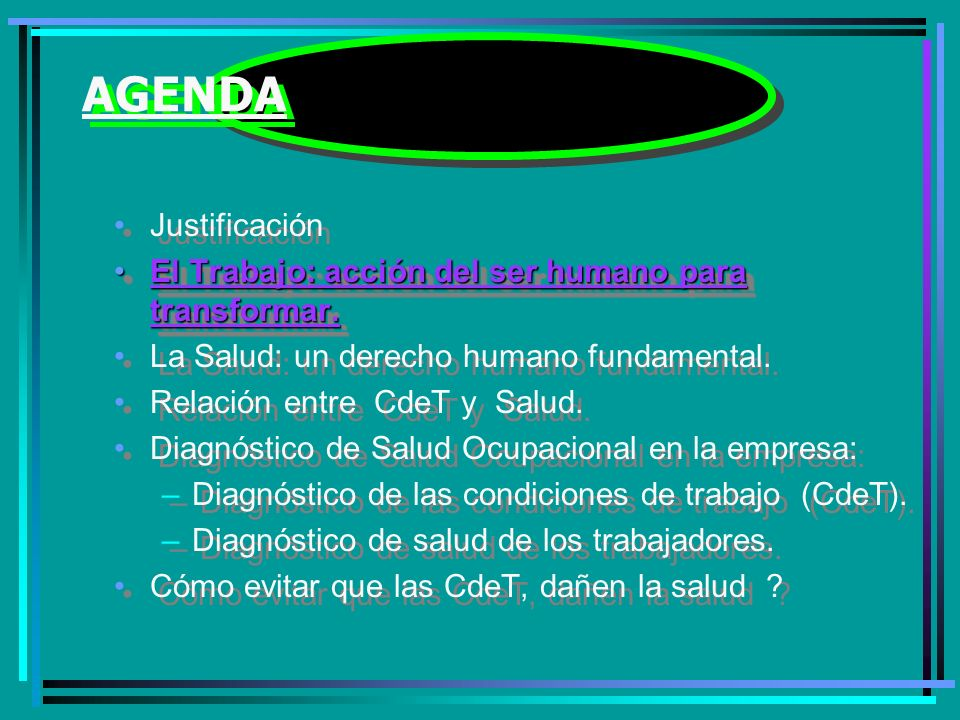 AGENDA Justificación. El Trabajo: acción del ser humano para transformar. La Salud: un derecho humano fundamental.