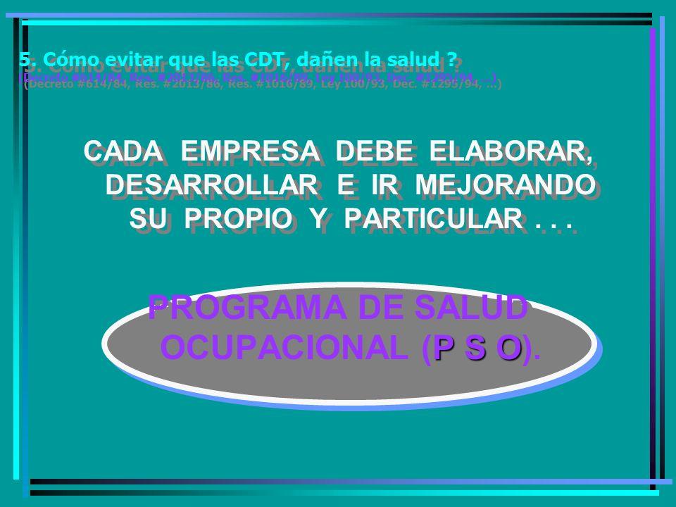 PROGRAMA DE SALUD OCUPACIONAL (P S O).