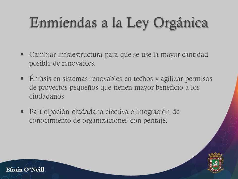Enmiendas a la Ley Orgánica