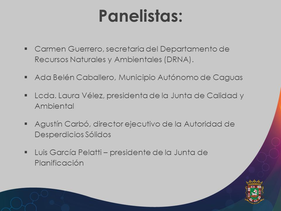 Panelistas: Carmen Guerrero, secretaria del Departamento de Recursos Naturales y Ambientales (DRNA).