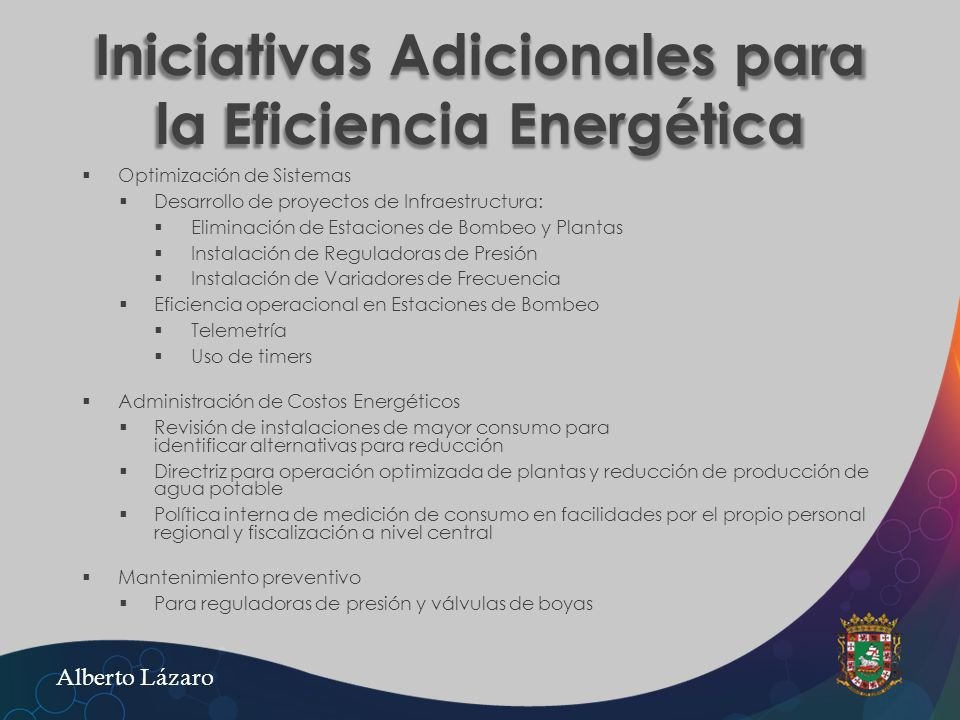 Iniciativas Adicionales para la Eficiencia Energética