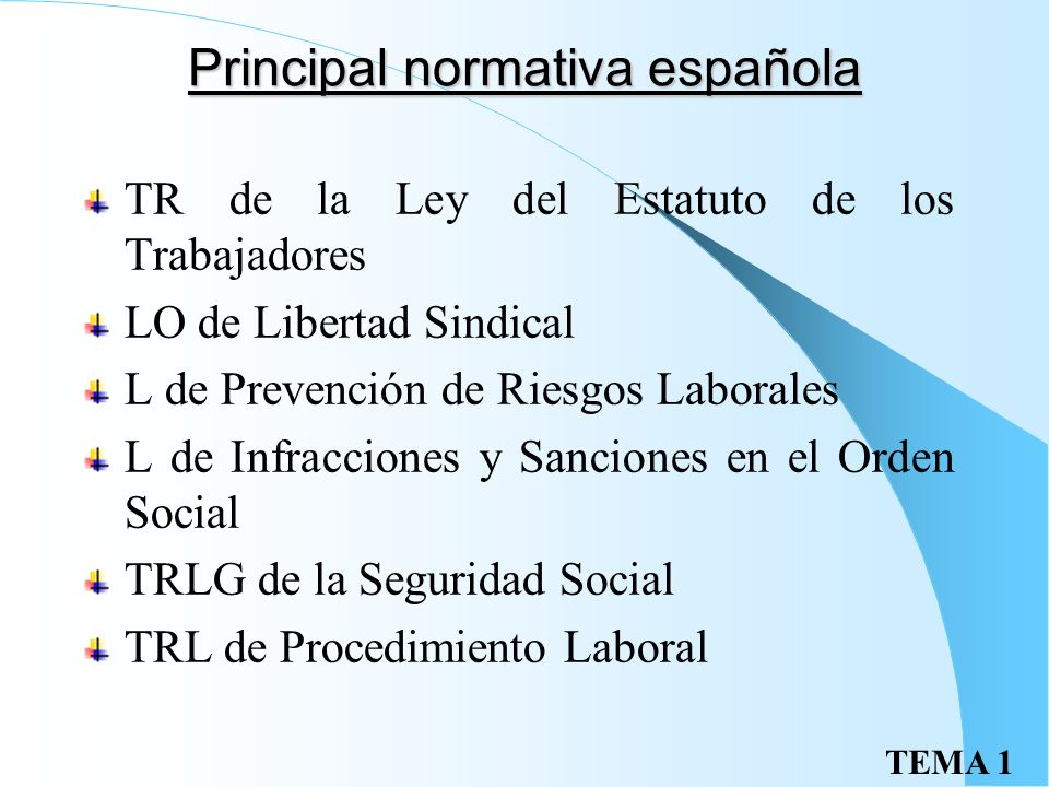 Principal normativa española