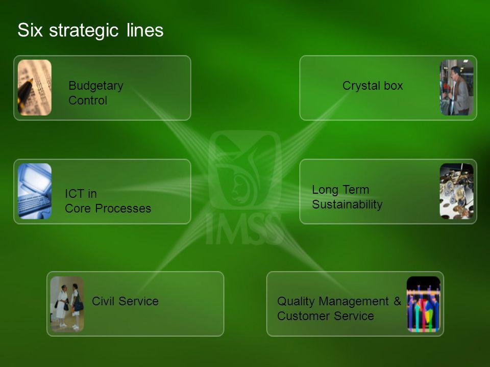 Six strategic lines Budgetary Control Crystal box Long Term