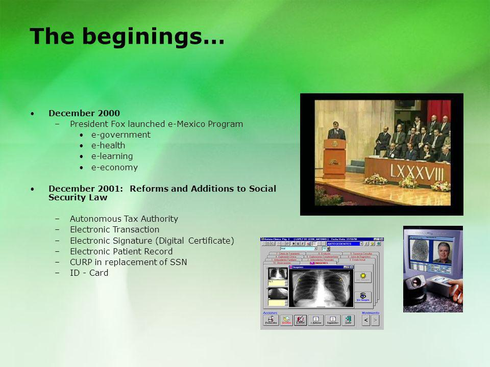 The beginings… December 2000 President Fox launched e-Mexico Program