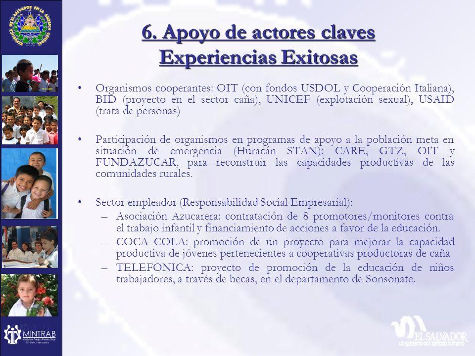 6. Apoyo de actores claves Experiencias Exitosas