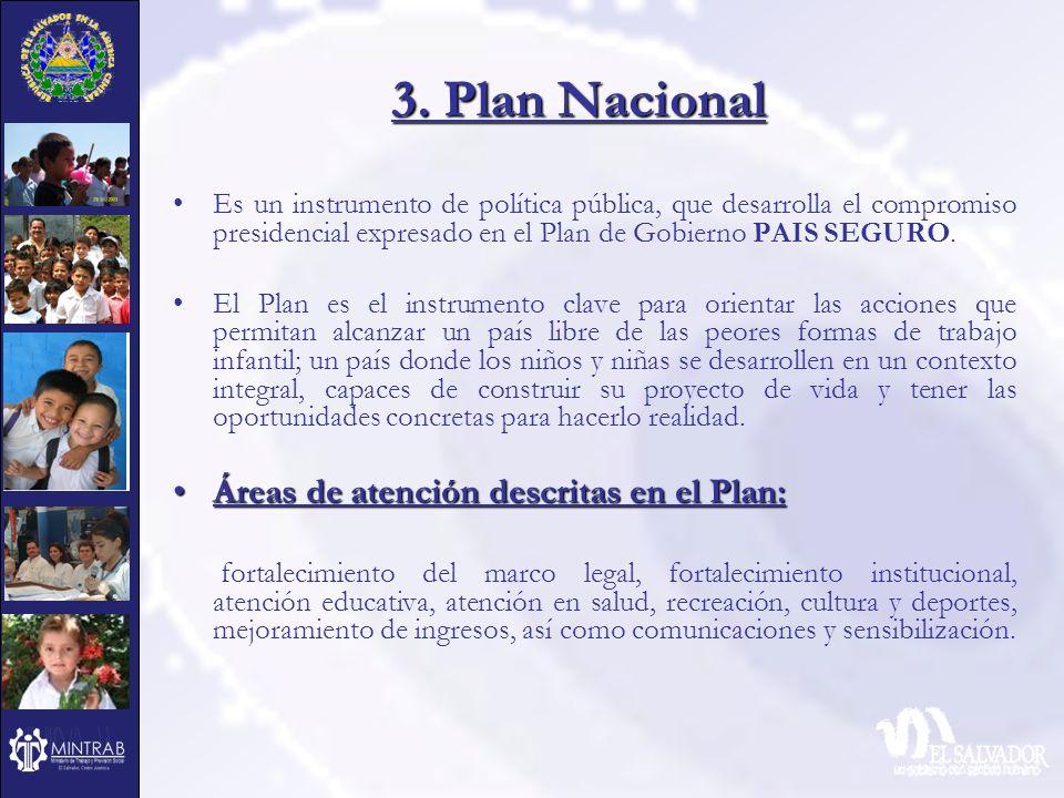 3. Plan Nacional Áreas de atención descritas en el Plan: