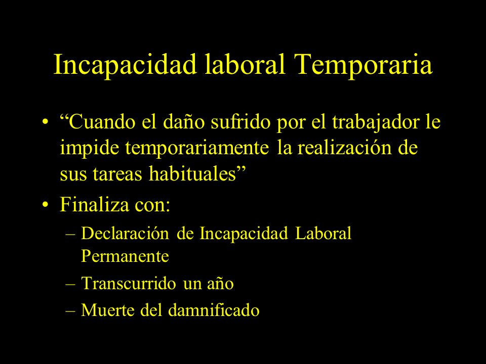 Incapacidad laboral Temporaria