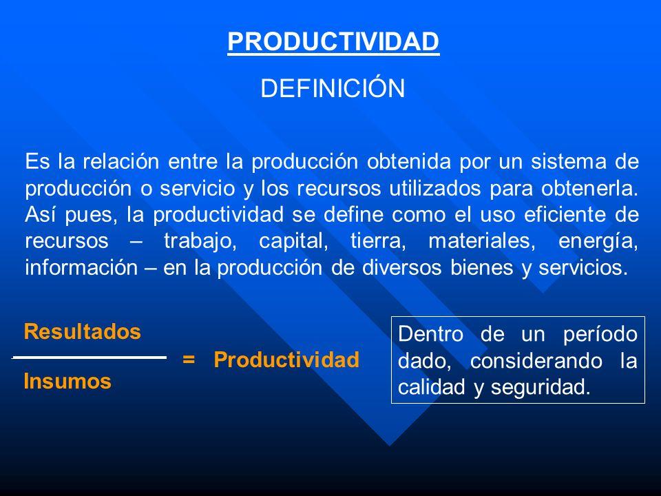 PRODUCTIVIDAD DEFINICIÓN