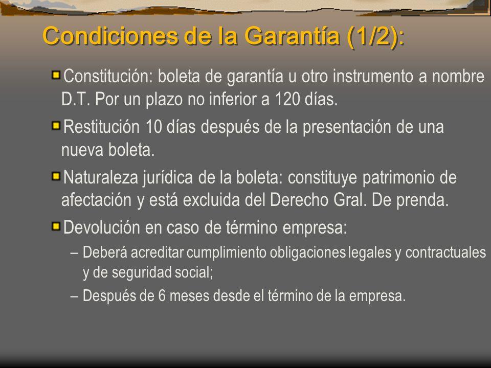 Condiciones de la Garantía (1/2):