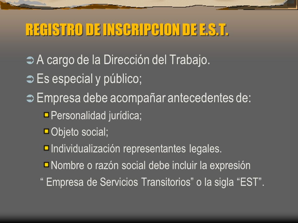 REGISTRO DE INSCRIPCION DE E.S.T.