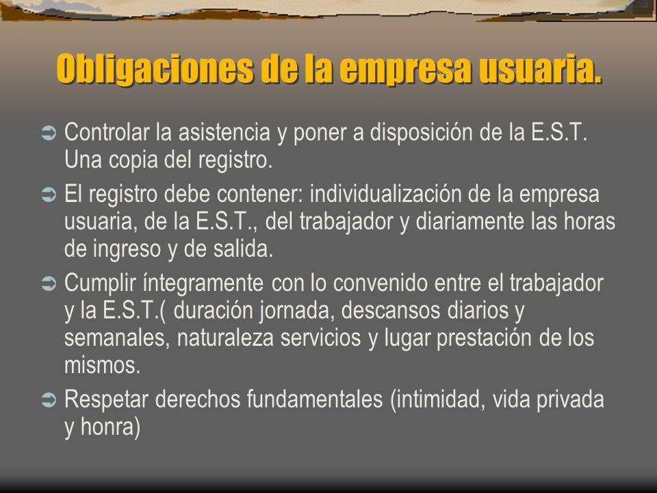 Obligaciones de la empresa usuaria.