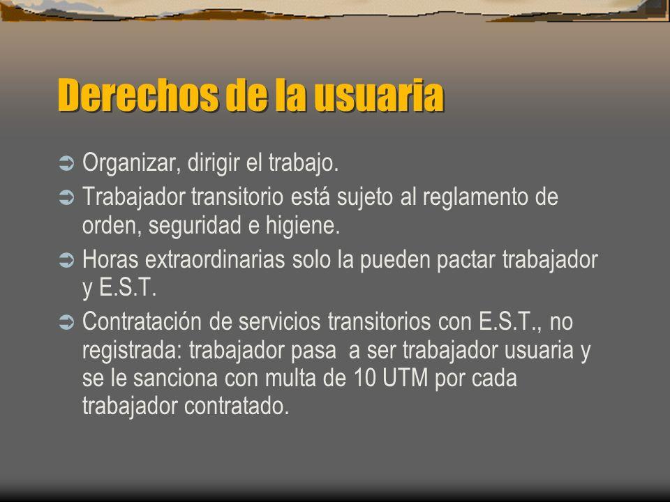 Derechos de la usuaria Organizar, dirigir el trabajo.