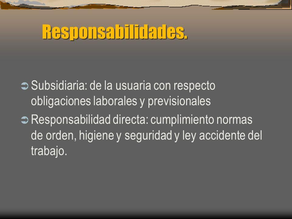 Responsabilidades. Subsidiaria: de la usuaria con respecto obligaciones laborales y previsionales.