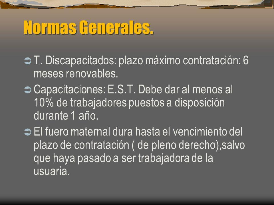 Normas Generales. T. Discapacitados: plazo máximo contratación: 6 meses renovables.