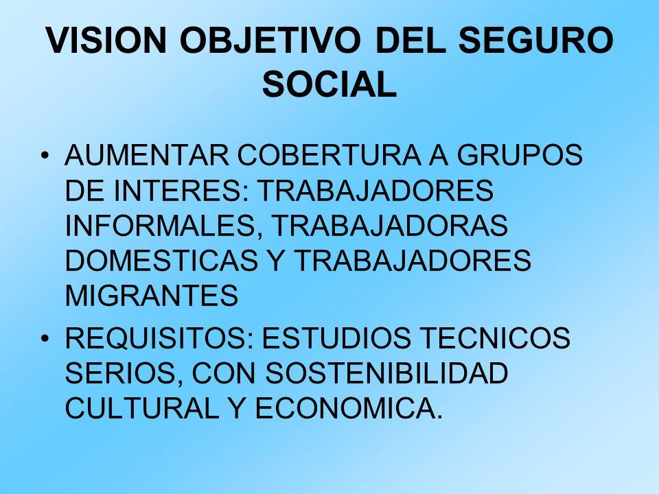 VISION OBJETIVO DEL SEGURO SOCIAL