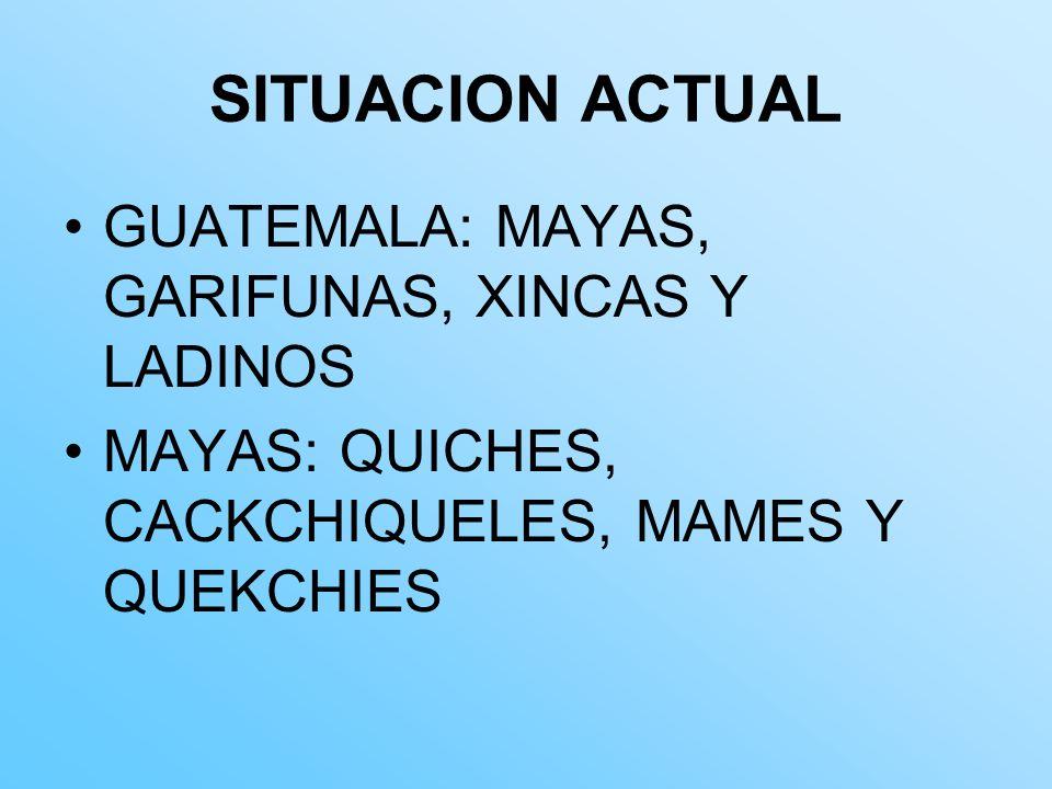 SITUACION ACTUAL GUATEMALA: MAYAS, GARIFUNAS, XINCAS Y LADINOS
