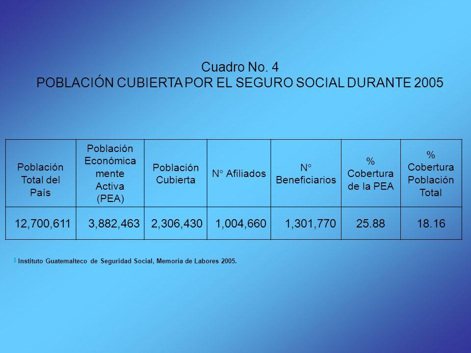 POBLACIÓN CUBIERTA POR EL SEGURO SOCIAL DURANTE 2005